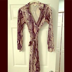 DVF Julian Snakeskin print wrap dress